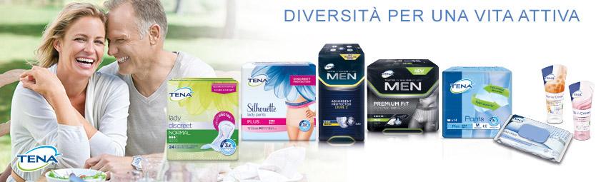 TENA offre numerosi prodotti e soluzioni contro l'incontinenza femminile e maschile.